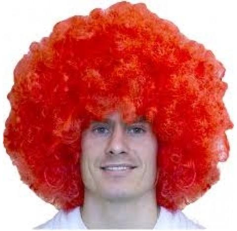 Perruque de cheveux afro Pop couleur rose fluo, très grosse