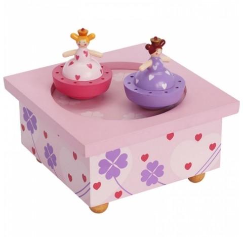 Boîte à musique en bois avec 2 sujets dansants, thème les soeurs princesses