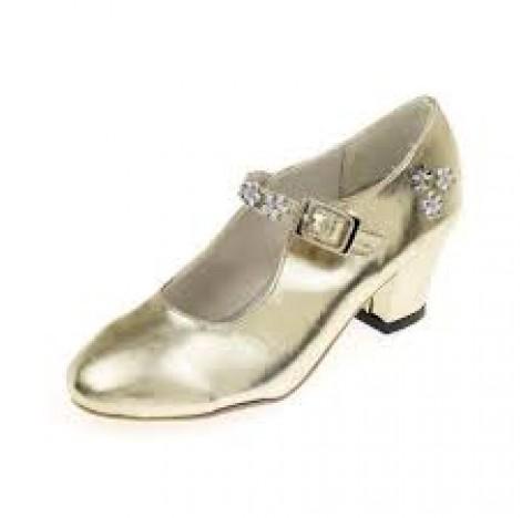 Chaussures de bal de princesse, en simili cuir de couleur doré, taille 28