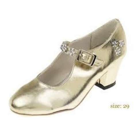 Chaussures de bal de princesse, en simili cuir de couleur or, taille 35