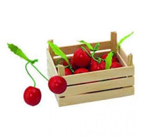 Cagette en bois et sa cargaison de cerises gourmandes
