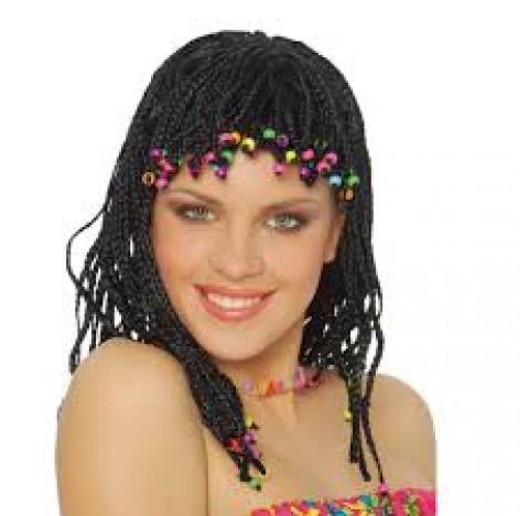 Perruque de cheveux tressés avec perles multicolores