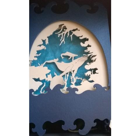"""Lampe théâtre bleue """"la baleine et son baleineau"""""""