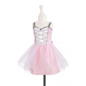Déguisement tenue de danseuse avec tutu, couleur  rose pâle rehaussé de paillettes  argentées 2/4 ans