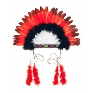 Coiffe parure de plumes d' indien, rouge et noir