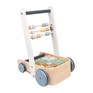 Chariot de marche ABC Buggy  Sweet cocoon et ses 20 cubes en bois