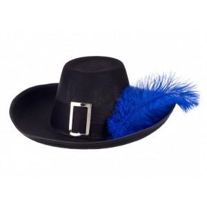 Chapeau de mousquetaire  Richard, avec sa plume bleue  taille 3/6 ans