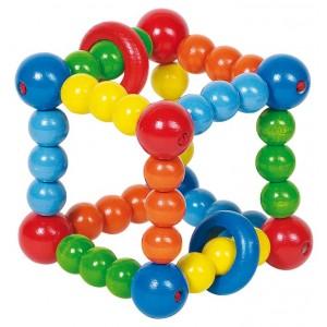 Hochet bois cube multicolore