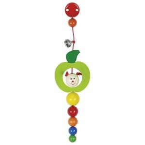Hochet avec clip pour l'accrocher partout modèle Pomme avec grelot