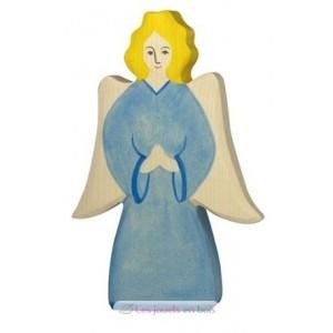 Figurine Archange bleu en bois pour la crèche