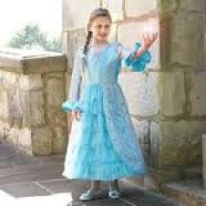 Déguisement  style Princesse des neiges, bleu azur et argent
