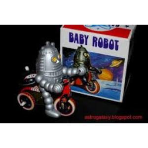 Baby robot de l'espace sur son tricycle