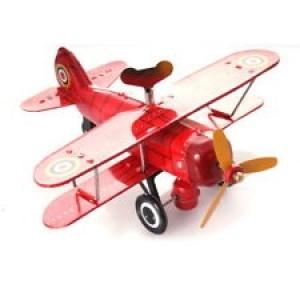 Avion bi- plan rouge mécanisme à clé
