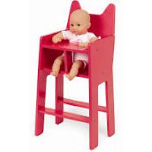 Chaise haute pour poupée, tout en bois peint