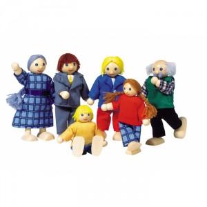 """Poupées articulées """"Famille  au grand complet"""" 6 personnages"""