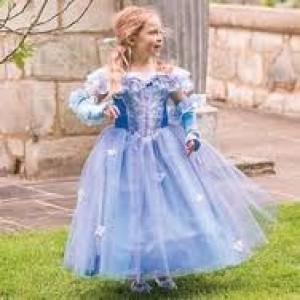 Déguisement Princesse des fleurs, bleu , parme et argent