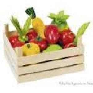 Cagette en bois et sa cargaison de fruits et légumes