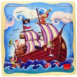 Puzzle bateau du pirate 25 pièces en bois
