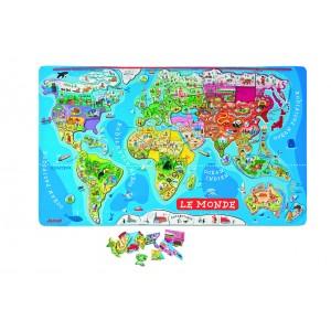 """Puzzle Géant Magnétique """"Monde"""" 92 pièces"""