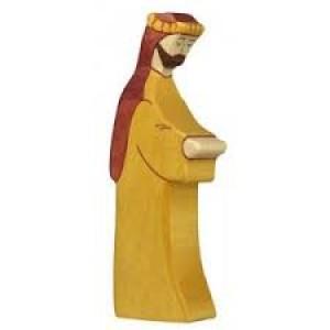 Figurine Saint Joseph  barbu en bois pour la crèche