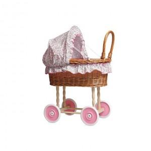 Landau en osier pour poupées parure à fleurs roses