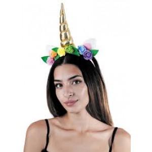 Serre-tête déguisement de licorne à fleurs