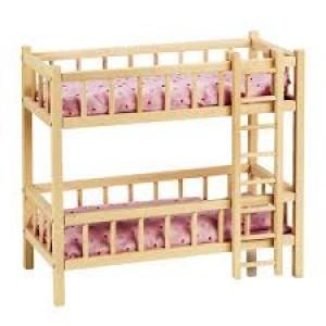 Lit  à deux étages superposés pour 2 poupées, en hêtre naturel