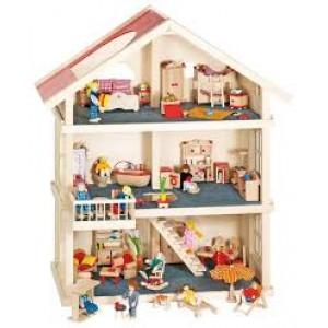 Très grande maison  de poupées en bois sur trois étages