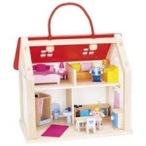 Maison de poupées nomade et ses accessoires.