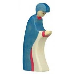 Figurine Vierge Marie  en habit bleu en bois pour la crèche
