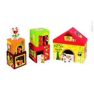 Multi cubes de la ferme avec ses personnages en bois