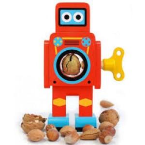 Robot rétro en bois, casse- noix