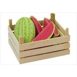Cagette en bois et sa cargaison de pastèques