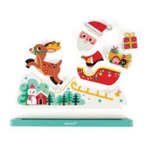 Puzzle vertical Pere Noël avec son traîneau