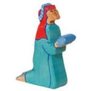 Figurine Roi Mage Balthazar en bois pour la crèche