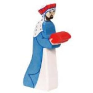 Figurine Roi Mage Melchior en bois pour la crèche