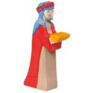 Figurine Roi Mage Gaspard en bois pour la crèche
