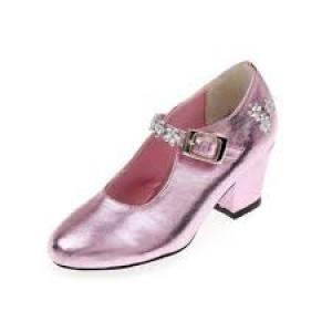 Chaussures de bal de princesse, en simili cuir de couleur rose, taille 27