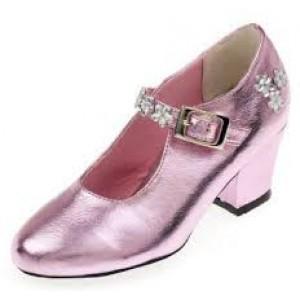 Chaussures de bal de princesse, en simili cuir de couleur rose, taille 28