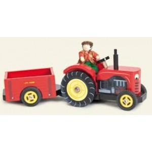 Tracteur camion rouge géant  avec sa remorque en bois bien solide