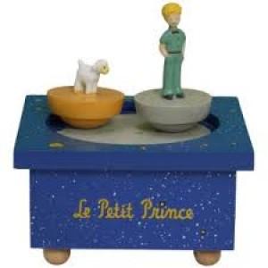 Boîte à musique en bois avec 2 sujets dansants, thème Petit Prince