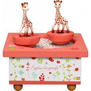 Boîte à musique en bois avec 2 sujets dansants, thème la Girafe Sophie