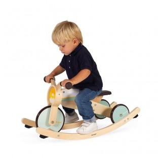 Porteur Moto Tricyle en bois évolutif 2 en 1, à bascule et roulant, à partir de 1 an