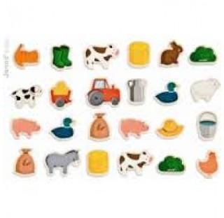 """Magnets """"la ferme"""" 24 pièces en bois"""