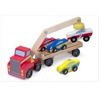 Camion transporteur 4 voitures en bois, avec bras magnétique