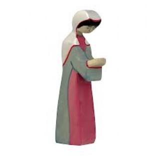 Figurine Vierge Marie  en habit gris- rose,  en bois pour la crèche