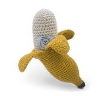 Le hochet Banane, crocheté main et en coton bio certifié GOTS