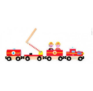 Mon  train de pompiers en bois aimanté