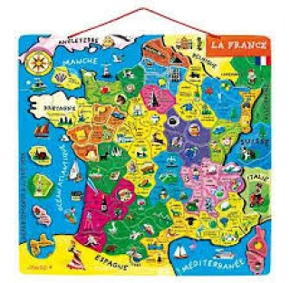 Puzzle carte de France, en bois, magnétique