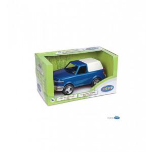 Voiture 4X4 tout terrain bleueavec son conducteur